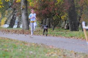 Lavinia mit Smilla auf dem 5.Platz CaniCross Junior 1km